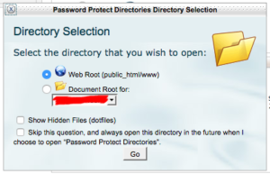 cPanel Directory Selection