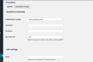 SendGrid account information