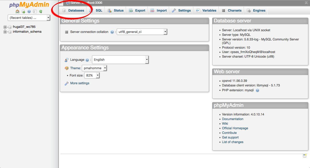 phpMyAdmin Databases Backup