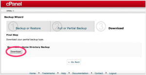 cPanel Download Backup