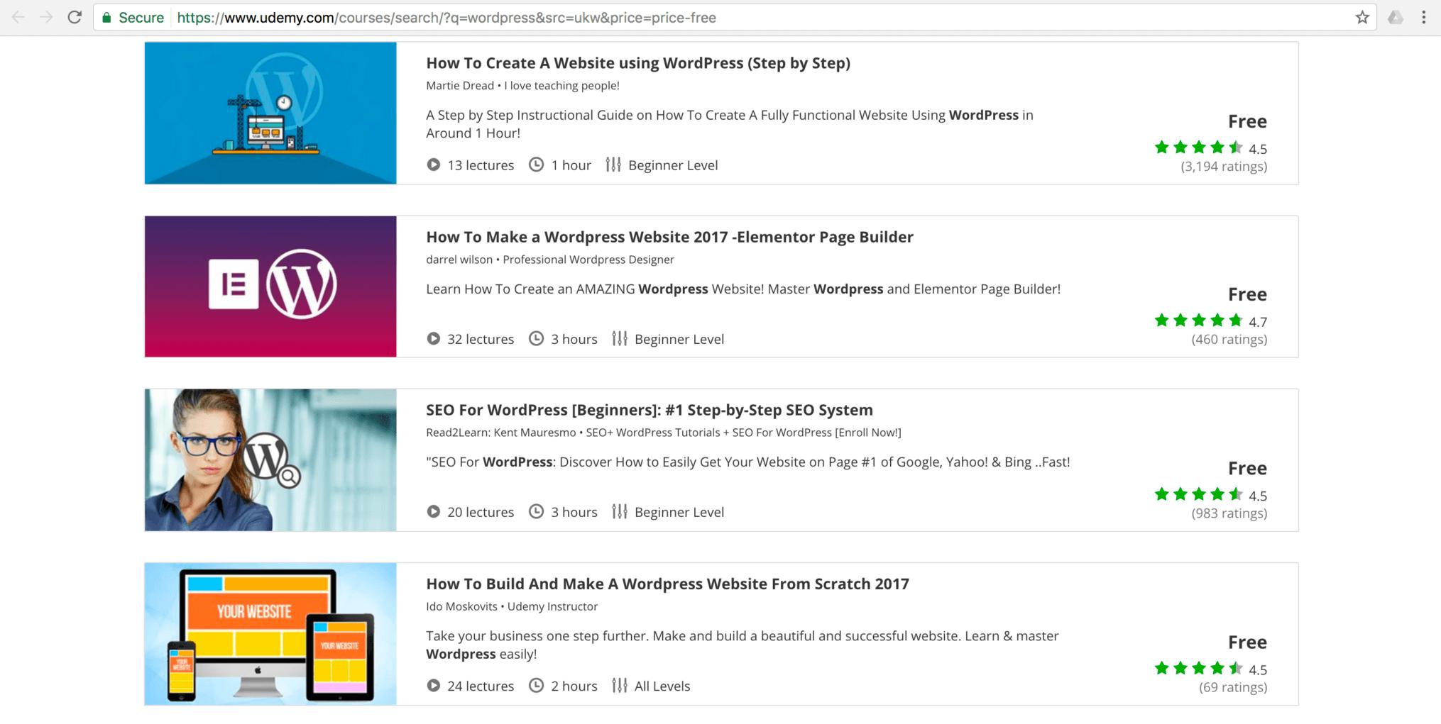 Udemy WordPress Courses