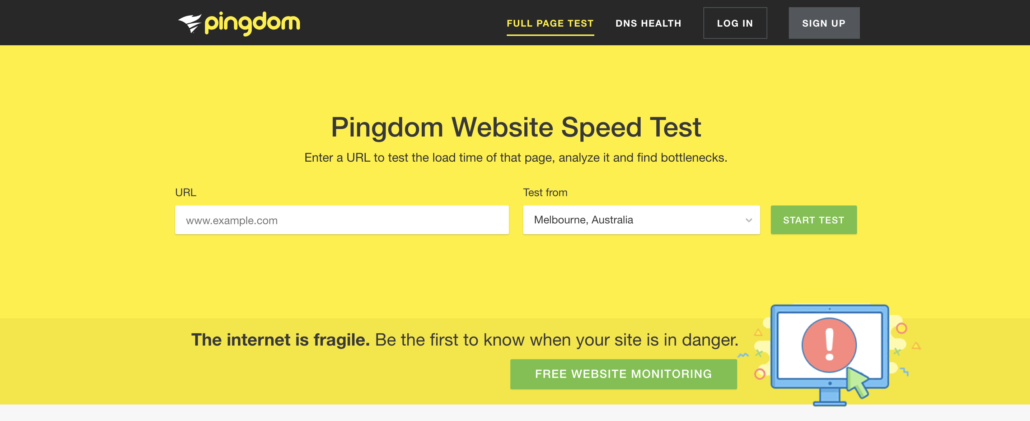 Pingdom Page Speed Test Homepage