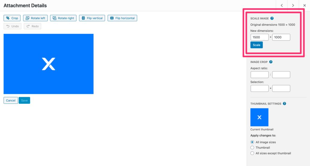 Screenshot: Scale Down Images WordPress